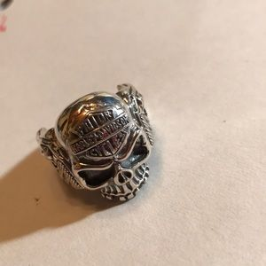 Men's Silver 925 Skull HD and Gun Silver Ring